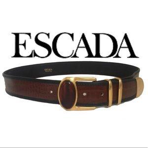 Escada Accessories - ESCADA Crocodile Designer Luxury Label Belt